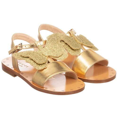 Girls Gold Butterfly Sandals