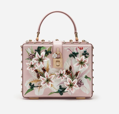 BOX BAG IN LILY-PRINT DAUPHINE CALFSKIN WITH EMBROIDERY