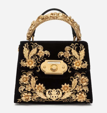 MEDIUM VELVET WELCOME BAG WITH BAROQUE EMBROIDERY