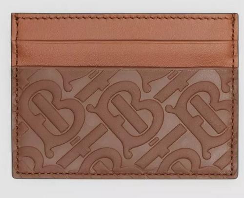 Dark Tan Monogram Leather Card Case